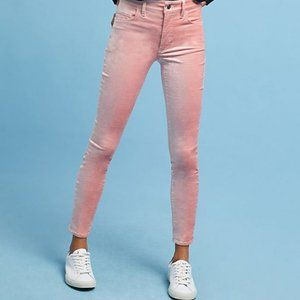 Anthropologie Pink High Rise Skinny Velvet Jeans